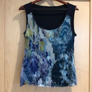 Elie Tahari Tank with Sequin Detail - L